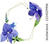 watercolor blue veronica flower.... | Shutterstock . vector #1214329906
