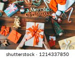 people are preparing gifts for... | Shutterstock . vector #1214337850