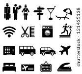 hotel symbols icon set in black | Shutterstock .eps vector #121435138