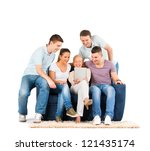 young people sitting on a sofa  ... | Shutterstock . vector #121435174