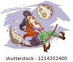 joyful witch flying on a... | Shutterstock .eps vector #1214352400