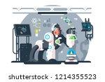 robot monkey scientist make... | Shutterstock .eps vector #1214355523