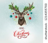 hand drawn christmas deer and... | Shutterstock . vector #1214355703