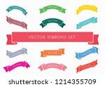 vector ribbon set   Shutterstock .eps vector #1214355709