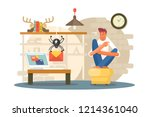 confused man getting virus or... | Shutterstock .eps vector #1214361040