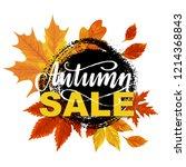 autumn sale banner design with... | Shutterstock .eps vector #1214368843