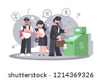 queue at atm withdrawing money... | Shutterstock .eps vector #1214369326