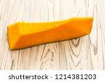 pampkin cut on the wooden... | Shutterstock . vector #1214381203
