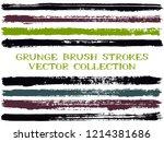 long ink brush strokes isolated ...   Shutterstock .eps vector #1214381686