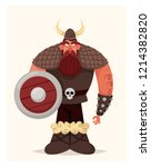 big grumpy viking. cartoon... | Shutterstock .eps vector #1214382820