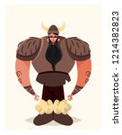 big angry viking. cartoon style.... | Shutterstock .eps vector #1214382823
