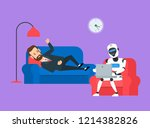man patient talking about his... | Shutterstock .eps vector #1214382826