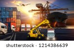 logistics and transportation of ... | Shutterstock . vector #1214386639