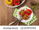 colorful baked with cheese ... | Shutterstock . vector #1214391943