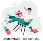 cyberbullying. cyberbullying... | Shutterstock .eps vector #1214398153