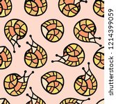 seamless pattern with snails.... | Shutterstock .eps vector #1214399059