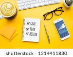 top view of office desk table... | Shutterstock . vector #1214411830