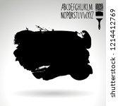 black brush stroke and... | Shutterstock .eps vector #1214412769