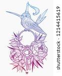 little bird in the peonies. ... | Shutterstock .eps vector #1214415619