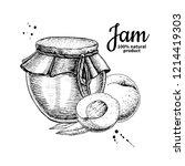 peach jam glass jar drawing.... | Shutterstock . vector #1214419303