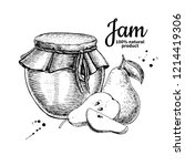 pear jam glass jar drawing.... | Shutterstock . vector #1214419306