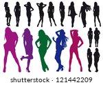 silhouettes beautiful girl | Shutterstock . vector #121442209