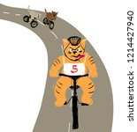 bike racing cats. competition... | Shutterstock .eps vector #1214427940