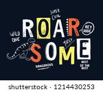 hand drawn dinosaur theme... | Shutterstock .eps vector #1214430253