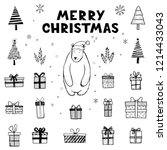 hand drawn set of christmas... | Shutterstock .eps vector #1214433043