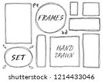 hand drawn set of simple frame... | Shutterstock .eps vector #1214433046