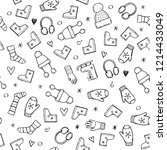 hand drawn seamless pattern of... | Shutterstock .eps vector #1214433049
