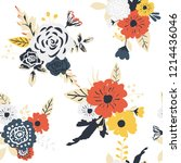 seamless floral pattern.... | Shutterstock .eps vector #1214436046
