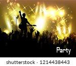 concert rock performer cheerful ...   Shutterstock . vector #1214438443
