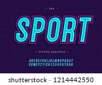 vector bold neon sport alphabet ... | Shutterstock .eps vector #1214442550