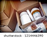 several boxes with medicines in ... | Shutterstock . vector #1214446390