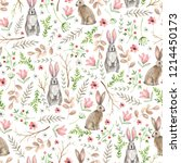 Stock photo seamless pattern with cute rabbits watercolor hand drawn 1214450173