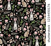 seamless pattern with cute... | Shutterstock . vector #1214450176