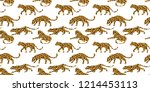 seamless exotic pattern with... | Shutterstock .eps vector #1214453113