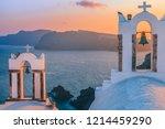 sunset in santorini greece ...   Shutterstock . vector #1214459290