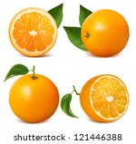 set of fresh ripe oranges with... | Shutterstock . vector #121446388