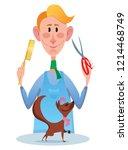 cartoon animal hairdresser...   Shutterstock .eps vector #1214468749