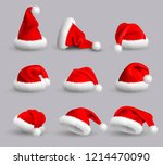 collection of red santa claus... | Shutterstock .eps vector #1214470090