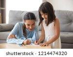 single mother and preschool...   Shutterstock . vector #1214474320