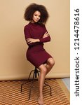fashion black woman with an... | Shutterstock . vector #1214478616