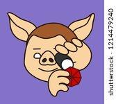 emoji with pig jeweller that is ...   Shutterstock .eps vector #1214479240