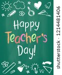 happy teachers day greeting... | Shutterstock . vector #1214481406