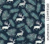 seamless pattern with deer.... | Shutterstock . vector #1214493160