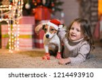 merry christmas. little girl... | Shutterstock . vector #1214493910
