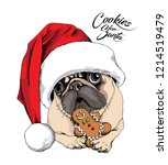 adorable beige puppy pug in a... | Shutterstock .eps vector #1214519479
