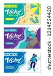 travel banner for web site. set ... | Shutterstock .eps vector #1214524420